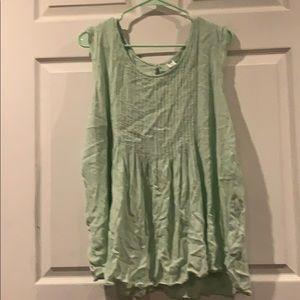 Pale green flowy, sleeveless shirt